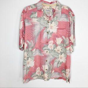 Tommy Bahama Mens Silk Shirt Floral Salmon